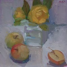 'Yellow Rose Surrounded by Apples' – 6″x6″ original floral still life oil painting of a flower in a glass vase with fruit by New York fine artist Maryann Lucas