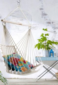 a patio hammock.but maybe this could go inside? like a kiddos bedroom or something? Hanging Hammock Chair, Hammock Swing, Hanging Chairs, Hammocks, Crochet Hammock, Porch Interior, Interior Design, Porch Curtains, Hammock Accessories