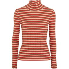 Madewell Joy ribbed striped stretch-cotton jersey turtleneck top ($66) ❤ liked on Polyvore featuring tops, sweaters, striped turtleneck, red turtleneck sweaters, ribbed sweater, ruffled sweaters and striped sweater