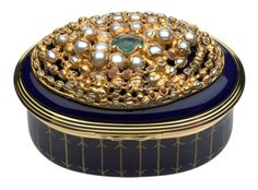 Halcyon Days enamelled box with pearls, opal and coral by Ruth Tomlinson