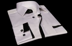 White Shirt Black Line Turndown Collar   $89.90