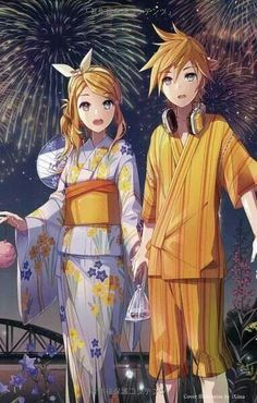 Kimono Girl Anime Cuties Kawaii Anime smile Cute blushing colors Blue eyes ART VOCALOID Rin Kagamine Rin Sky Len stars