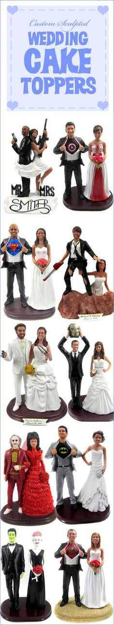 Custom wedding cake toppers are sculpted from your photos. WE can design just about anything you can image - from superheros to sports jerseys, movie stars to hobbies and careers. With thousands of pre-designed bodies to choose from, let BobbleGram create a personalized wedding cake topper you will cherish forever!