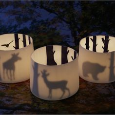 Porcelain lantern with deer, reindeer, bear, elk, wolf or fox - Swedish designer Anna Carin Dahl