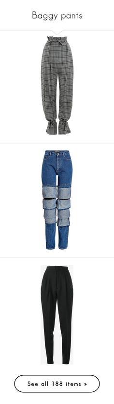 """""""Baggy pants"""" by minleepam ❤ liked on Polyvore featuring pants, paperbag pants, cuff pants, high waisted pleated pants, high rise pants, zip pants, jeans, bottoms, blue and denim jeans"""