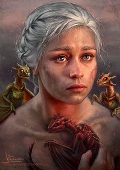 "Game of Thrones - Daenerys Targaryen ""Mother of Dragons"" by Inna-Vjuzhanina Tatuagem Game Of Thrones, Dessin Game Of Thrones, Arte Game Of Thrones, Game Of Thrones Tattoo, Game Of Thrones Books, Drogon Game Of Thrones, Game Of Thrones Dragons, Got Dragons, Daenerys Targaryen Art"