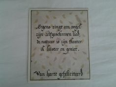 Wenskaart met kalligrafie
