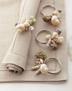 Sea Shell Napkin Rings, Set of 4, Natural - Shiraleah