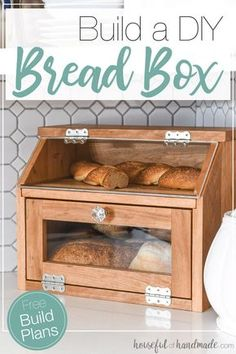Build a beautiful DIY bread box with the Kreg Jig. This large bread box has plenty of room for multiple loaves of bread. And a pull out cutting board shelf. Housefulofhandmade.com | #DIY #buildplans #kitchen #bread #storage via @kati_farrer