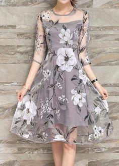 Grey Round Neck Flower Print Dress with cheap wholesale price, buy Grey Round Neck Flower Print Dress at Rotita.com