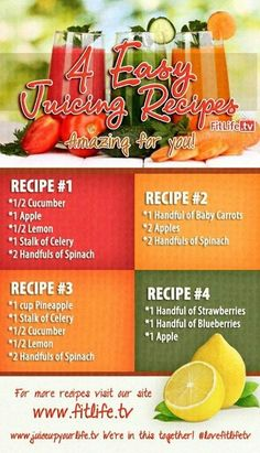 4 Easy Juicing Recipes....don't use baby carrots! Cut fresh