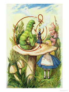 John Tenniel:Alice Meets the Caterpillar, illustration from Alice in Wonderland by Lewis Carroll John Tenniel, Lewis Carroll, Alice Liddell, Alice In Wonderland Illustrations, Book Illustrations, Happy 420, Chesire Cat, Adventures In Wonderland, Through The Looking Glass