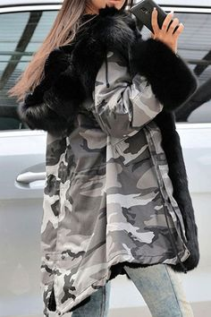 335c9ca9a898c Fur Camouflage Mid-Length Hooded Coat Parka Outfit, Camo Fashion, Military  Fashion,