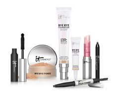 IT Cosmetics 7-piece makeup kit:  Bye Bye Foundation moisturizer, concealing cream, mascara, waterproof eyeliner, eyebrow pencil, Bye Bye Pores finishing powder and lip reviver.