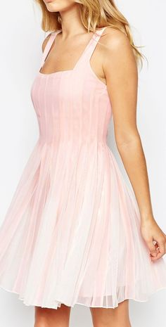 pink mesh fit and flare dress