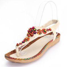 5efd36776b30 High-quality Bohemia Flowers Diamond Beads Shape Splice Flat Summer Sandals  - NewChic Mobile.