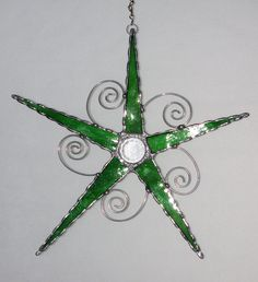 Stained Glass Bright Green Glass Star Wire Swirl by GLASSbits