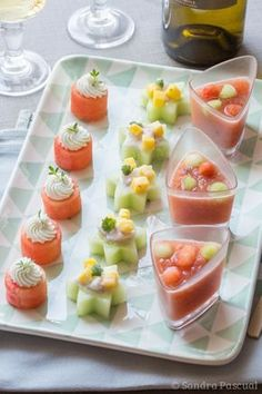 Aperitif for a wine of Gascony (Ceviche, Watermelon and Gaspacho) – Cuisine Addict Plus Mini Aperitivos, Ceviche, Mini Appetizers, Appetizer Recipes, Gluten Free Puff Pastry, Appetisers, Clean Eating Snacks, Cooking Time, Tapas