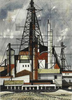 Michael Frary, Oil derricks, oil on canvas