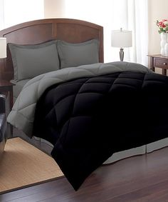 This Black & Gray Reversible Comforter Set is perfect! #zulilyfinds