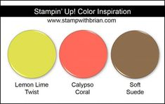 Stampin' Up! Color Inspiration: Lemon Lime Twist, Calyspo Coral, Soft Suede
