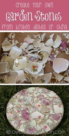 DIY Garden Art Projects to do Mosaic garden stepping stones. How to take broken dishes and create beautiful garden stones. How to take broken dishes and create beautiful garden stones. Diy Art Projects, Outdoor Projects, Crafty Projects, Project Ideas, Concrete Projects, Outdoor Crafts, Diy Garden Projects, Mosaic Projects, Unique Gardens