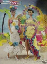 Crochet Fashion Doll Pattern 2 TROPICAL GOWNS / DRESSES