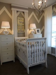 Babies Nursery-- I hate the chevron trend but I love the furniture arrangement:)