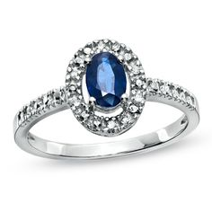 Oval Sapphire and Diamond Accent Framed Ring in 10K White Gold - Gordon's Jewelers...want it