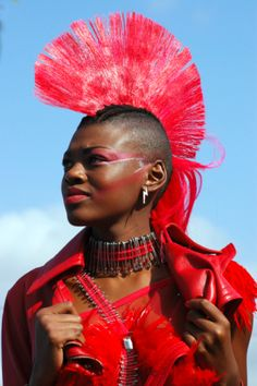 Afro Punk Women | African Punk Girl In Red Clothes With Mohican Hair Stylelooking Aside ...