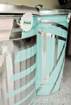 DIY Outdoor Organization: Recycle Bins SWEET HAUTE lowes creator paper plastic recyclables storage ideas aluminum trash bins. Pin now...read later!!