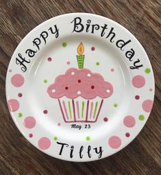 Hand Painted Birthday Plate - Colorful Cupcake | Birthday plate 50th and Birthdays & Hand Painted Birthday Plate - Colorful Cupcake | Birthday plate ...
