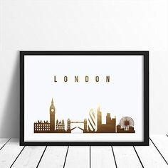 London Skyline, London Print, Real Gold Foil Print, Office Decor, Illustration Art Print, Office Wall Art, London Art, Great Britain. Every poster is designed with love by us. We make it beautiful by adding shining gold or silver foil finish handmade to our prints.