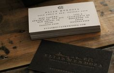 letterpress business cards Love the texture of the debossed branding. The colours are very elegant, while retaining warmth.
