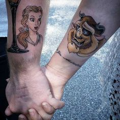 Couples disney beauty and the beast tattoos. Disney Tattoos, Disney Couple Tattoos, Cute Couple Tattoos, Pair Tattoos, Love Tattoos, Tatoos, Ring Tattoos, Tribal Tattoos, Belle Tattoo