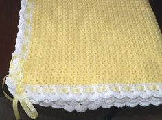 Baby Blanket - Yellow with Ribbon by bubblegirlknits, via Flickr