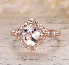 Cushion Morganite Engagement Ring Pave Diamond Wedding 14K Rose Gold 8mm Art Deco Floral Halo