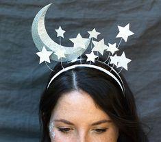 Haarreif Fasching basteln Feen Mond Sterne
