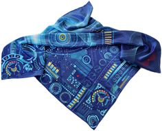 """Matrix"" - 100% silk scarf 90cm/36"" square #silkscarf #silkscarves #designerscarf #designersilkscarf #unique #handrolled"