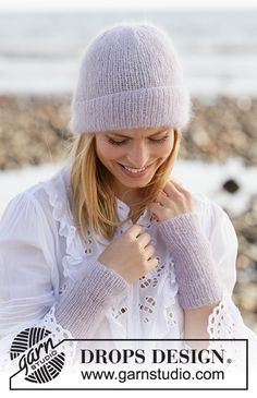 Knitted hat/hipster-hat and wrist warmers in 2 strands DROPS Kid-Silk. Loom Knitting Patterns, Knitting Stitches, Free Knitting, Knitting Tutorials, Hat Patterns, Stitch Patterns, Drops Design, Drops Kid Silk, Knit Crochet