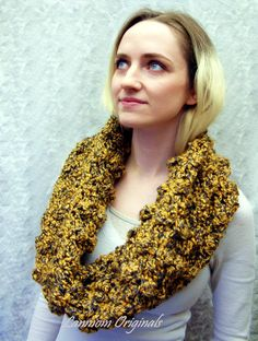 Chunky Cowl Crochet Infinity Scarf Textured by LanmomOriginals