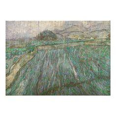Wheat Field in Rain by Vincent Van Gogh Card