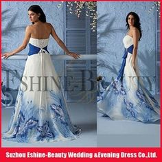 white and blue plus size wedding dress | Beautiful a-line printed royal blue and white wedding dresses