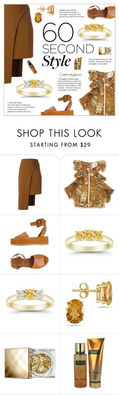 """""""60 Second Style"""" by applesofgoldjewelry ❤ liked on Polyvore featuring Cushnie Et Ochs, Zimmermann, Sessùn, Apples of Gold, Burberry, Victoria's Secret and Lancôme"""