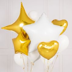 White And Gold Crazy Balloon Bunch | Bubblegum Balloons