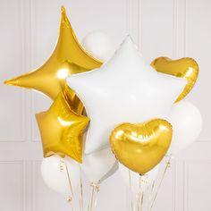 White And Gold Crazy Balloon Bunch | Bubblegum Balloons