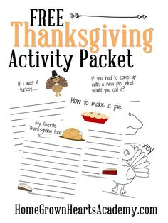 Free Thanksgiving Activity Packet