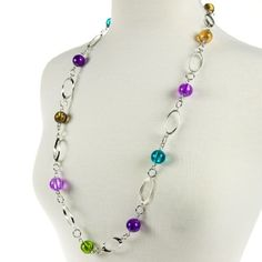 long beaded necklace - lovely colours separated by repeating link