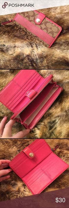 Coach - Classic C & Pink Stripe Wallet Coach - Classic C & Pink  Stripe Wallet - 16 individual card holders & dual section zippered compartment!  Shows signs of wear but in amazing condition! (Most noticeable is a pen mark in the card holder area) Coach Accessories