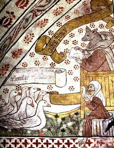 fox preaches to geese [Note the 2 already in his cowl!] -- one of the commonest and the most widespread of medieval satirical motifs aimed originally at the mendicant orders. This is a detail of a wall-painting in the church at Tolfta, Uppland, Sweden, painted in the first quarter of the 16C